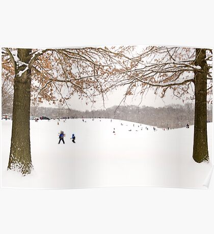 Winter scene outside in the snow Poster