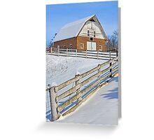 Snowy Brick Barn Greeting Card