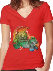 Gnome tripping on mushrooms! Women's Fitted V-Neck T-Shirt