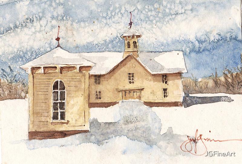 Berkshire House in Winter by JGFineArt