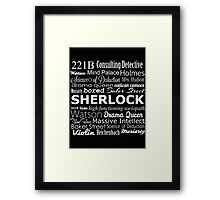 Sherlock in Words Framed Print