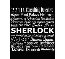 Sherlock in Words Photographic Print