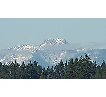 Olympic Mountains With Snow Photographic Print