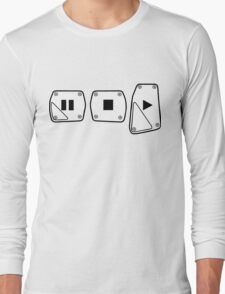 Play Stop Pause Pedals Long Sleeve T-Shirt