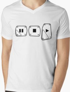 Play Stop Pause Pedals Mens V-Neck T-Shirt