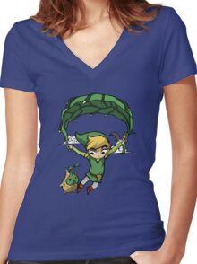 Legend Of Zelda - Flying Away Women's Fitted V-Neck T-Shirt