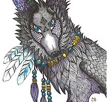 Totem Wolf zentangle by Ibubblesart
