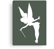 White Tinker Bell Silhouette Canvas Print