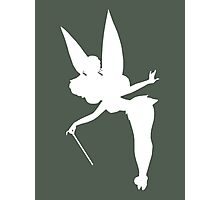 White Tinker Bell Silhouette Photographic Print