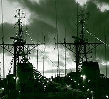 Warships at twilight by Gaspar Avila