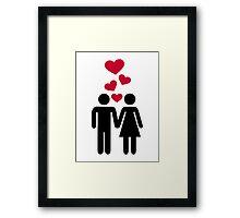 Couple red heart Framed Print