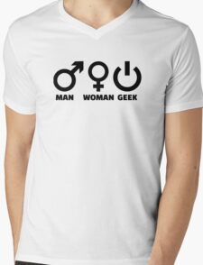 Man woman geek Mens V-Neck T-Shirt