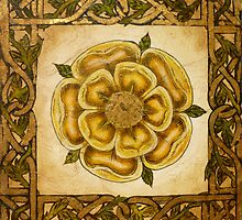 Yellow Celtic Rose by WildestArt