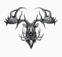Graham's Ghost - Irish Elk and Elk Skull Kids Tee