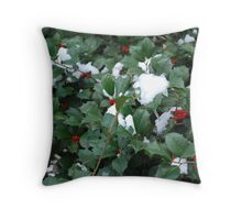Snow in the Holly Throw Pillow