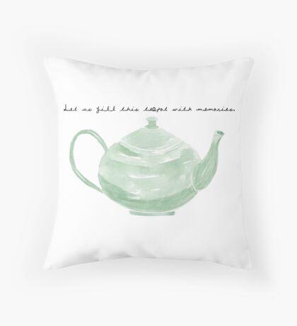 Teapot with Text Throw Pillow
