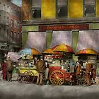 City - NY- Lunch carts on Broadway St NY - 1906 by Mike  Savad
