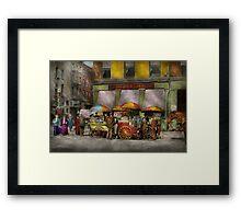 City - NY- Lunch carts on Broadway St NY - 1906 Framed Print