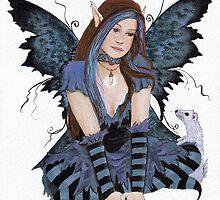 Teen Fairy with Ferret by Lori Karels