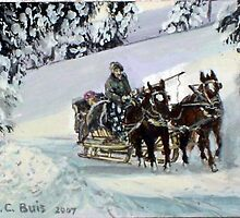 Sleigh Ride   ACEO by mmdstudios