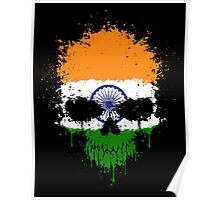 Chaotic Indian Flag Splatter Skull Poster