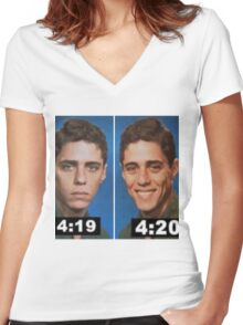 4:19 and 4:20 Women's Fitted V-Neck T-Shirt