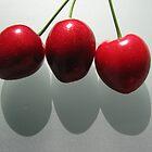 3 Cherries with shadows by Karen Doidge