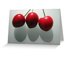 3 Cherries with shadows Greeting Card