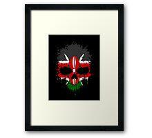 Chaotic Kenyan Flag Splatter Skull Framed Print
