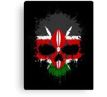 Chaotic Kenyan Flag Splatter Skull Canvas Print