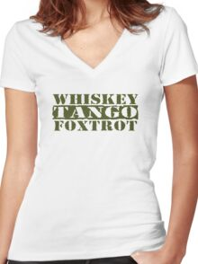 WTF? WHISKEY TANGO FOXTROT Women's Fitted V-Neck T-Shirt