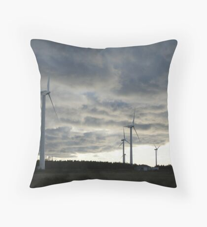 Windmill farm on Prince Edward Island Throw Pillow