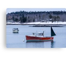 New England Lobster Boats Winter Time Canvas Print