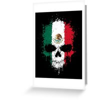 Chaotic Mexican Flag Splatter Skull Greeting Card