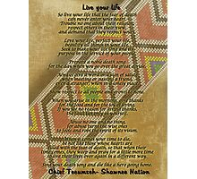 Live your life, Chief Tecumseh beads on parchment Photographic Print