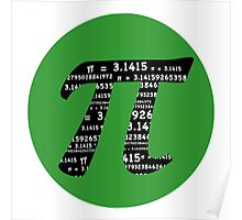 Pi Day graphic in green and black  Poster