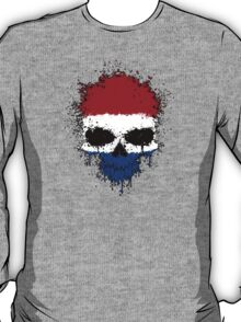 Chaotic Dutch Flag Splatter Skull T-Shirt