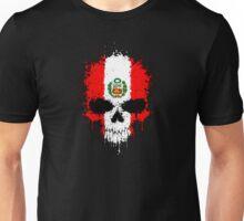 Chaotic Peruvian Flag Splatter Skull Unisex T-Shirt