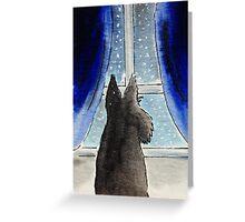 Scottie Dog 'Snowing' Greeting Card
