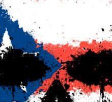 Chaotic Puerto Rican Flag Splatter Skull Sticker
