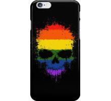 Chaotic Gay Pride Rainbow Flag Splatter Skull iPhone Case/Skin