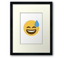 Smiling Face With Open Mouth And Cold Sweat Twitter Emoji Framed Print