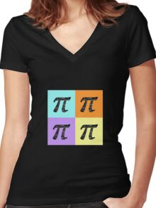Pi Day Graphic Pastel Squares Women's Fitted V-Neck T-Shirt