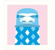 Tiki - White on Blue Art Print