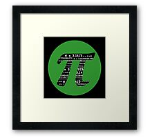 Pi Day graphic in green and black  Framed Print