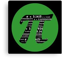 Pi Day graphic in green and black  Canvas Print