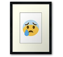 Face With Open Mouth And Cold Sweat Twitter Emoji Framed Print