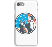 Barber Scissors Comb Cutting USA Flag Retro iPhone Case/Skin