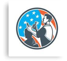 Barber Scissors Comb Cutting USA Flag Retro Canvas Print