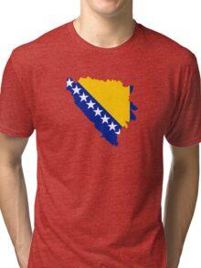 Flag Map of Bosnia & Herzegovina  Tri-blend T-Shirt